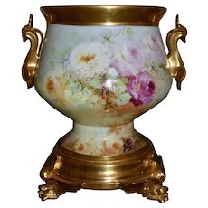 Limoges Extremely Rare Mold Golden Handled Jardiniere Covered in Exquisite Red, Pink, White and Yellow Roses with Matching Phenomenal Winged Griffin Matching Plinth/Base