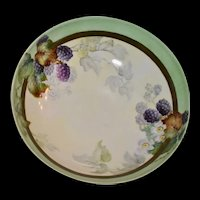 Limoges Large Footed Blackberry Bowl Signed by Artist