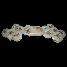 Limoges 13-Piece Luncheon or Ice Cream Set with Hand Painted Violets