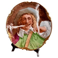 Limoges Charger of Cavalier Enjoying Meerschaum Pipe Signed French Artist L. Coudert