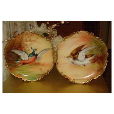 Fabulous Pair of Limoges Game Plaques Sign by Master Artist Broussillon - Red Tag Sale Item