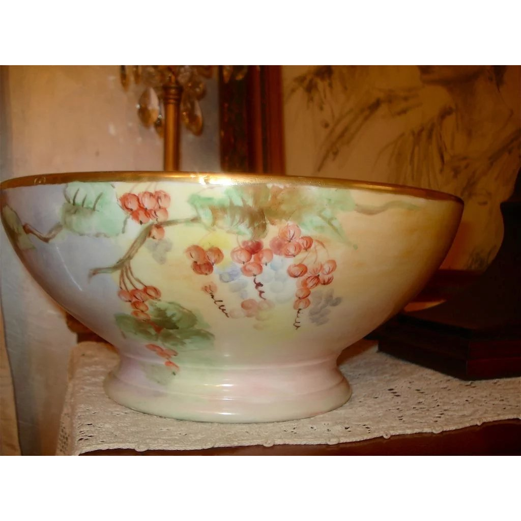 Limoges T Amp V Large Footed Punch Bowl With Gooseberries