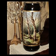 Limoges Fabulous Huge HP Cobalt Woodland Scenic Vase