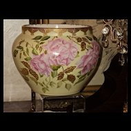 Limoges Jardiniere Pink Roses Incredible Gold Detailing