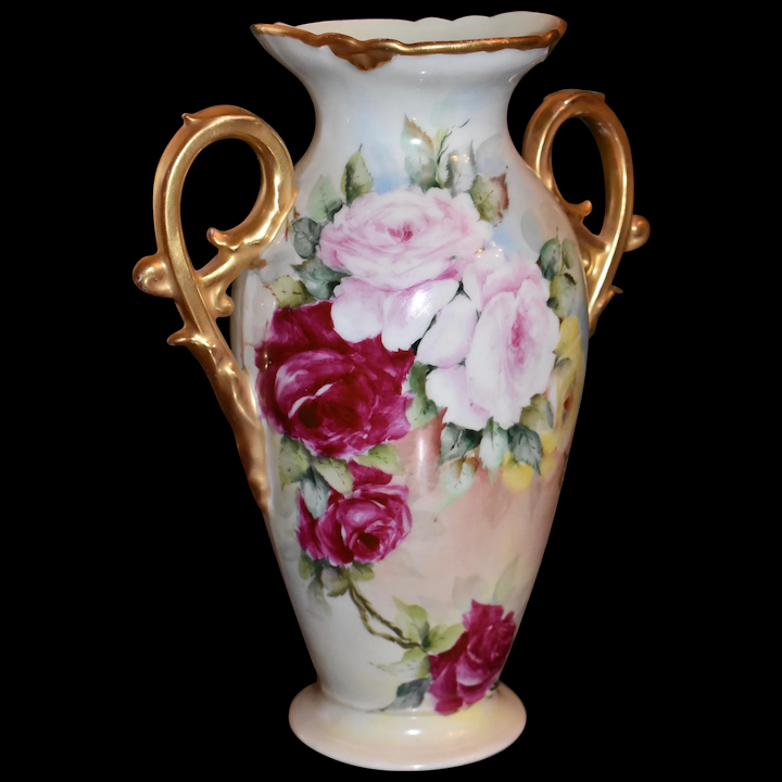 Limoges Gold Scrolled Handled Vase Covered In Pink Yellow And Red Roses