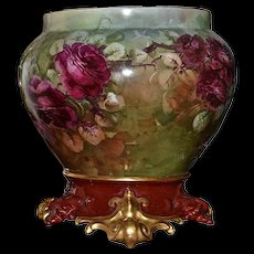 Limoges Wonderful Large Jardiniere Warm Colors & Ruby Red Roses with Matching Gold Scrolled Feet