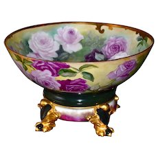 Limoges Gorgeous Punch Bowl Covered in Romantic Roses with Matching Plinth