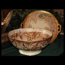 """Limoges Huge Punch Bowl with Golden White Grapes & Matching 15.5"""" Tray"""