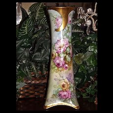 Gorgeous Tall Bavaria Vase with Limoges Quality HP Roses and Heavy Gold Embellishments