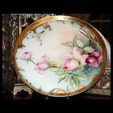 Gorgeous Limoges Signed Tray Large Pink Roses & Gold
