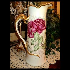 Limoges Huge Tankard/Pitcher Dragon Handle with Huge Red Roses