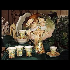 Beautiful Limoges/Bavaria Signed Chocolate Set Yellow Roses: Pot, Cups/Saucers,Tray