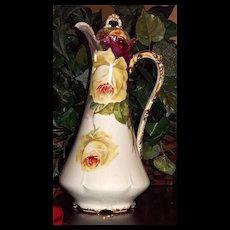 Wonderful Elegant Limoges Chocolate Pot Yellow Roses Signed Rene