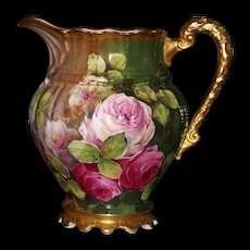 Limoges Spectacular Signed Pitcher with Pink/White/Raspberry Roses and Gold Gilded Handle/Base