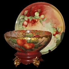 Stunning Limoges Signed Punch Bowl/Matching Plinth and Tray  Gorgeous Colors and Rare Hand Painted Apple Decor
