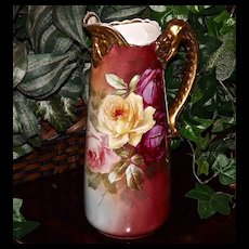 Limoges Gorgeous Pitcher/Tankard Red/Yellow/Peach Roses with Gold Dragon Handle