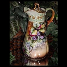 Limoges Gorgeous Unique Chocolate Pot with Blackberries and Wild Berry Flowers