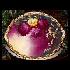 Haviland Limoges Vibrant Oval Rose Charger/Platter/Tray Signed by Master Artist Dubois