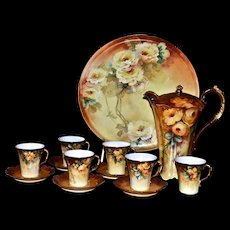 Limoges Amazing Chocolate Set: Pot/Cups/Saucers and Matching Serving Tray Covered in Vibrant and Dramatic Golden Yellow Roses; Signed and Dated