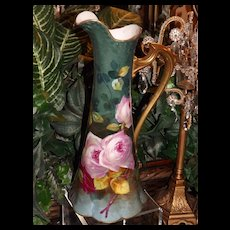 Limoges Amazing Pitcher/Tankard/Ewer Covered with Pink/Red Roses