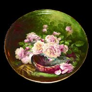 "Limoges Phenomenal 19.5"" Plaque/Charger/Tray Amazing Pink Rose Signed Master Artist Broussillon"