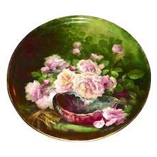 """Limoges Phenomenal 19.5"""" Plaque/Charger/Tray Amazing Pink Rose Signed Master Artist Broussillon"""