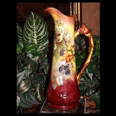 Limoges Tall Blackberry Pitcher Gorgeous Colors and Twisted Vine Handle