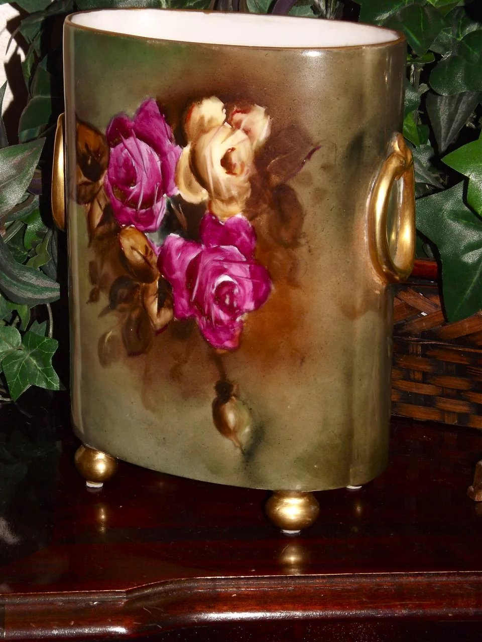 Limoges Large Cache Pot Vase With Red Yellow Pink Roses