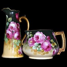 Limoges Cider/Lemonade Pitcher Red And Pink Roses with Gold Beaded Handle Signed Master French Artist Segur