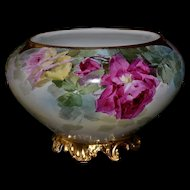 Limoges Fabulous Unique Gold Footed Jardiniere/Planter/Vase with Roses
