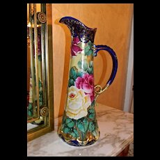 Fabulous Cobalt Nippon Pitcher/Tankard with Roses