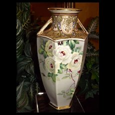 Nippon Vase White Roses/Peonies, Enamel Work, Intricate Gold Raised Detailing