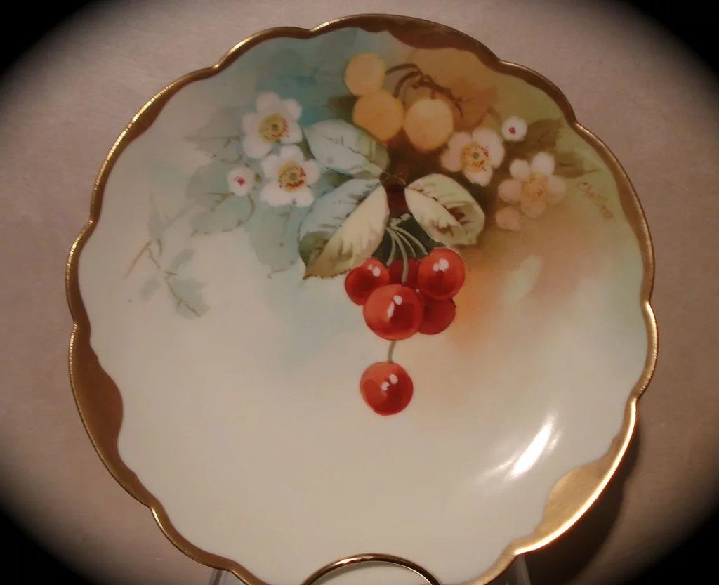 Lovely Pickard Plate With Cherries Signed Challinor All