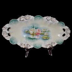 Prussia Vintage Wheelock Reflecting Water Lily Celery Tray Icicle Mold RSP7