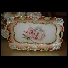 Prussia Steeple Mold Dresser Tray with Tulip Decor
