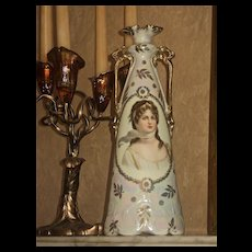 Tall Prussia Two Handled Portrait Vase Queen Louise