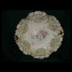 """Prussia Red Mark """"Sunflower"""" Mold Cake Plate with Roses"""