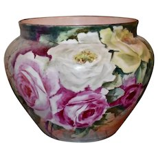 Limoges France Jardiniere Covered in Roses with a Spider Web Detail Signed by Artist