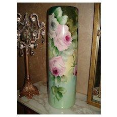 Stunning Willets Belleek Cylinder Signed Vase with Roses
