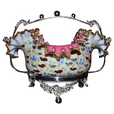 Brides Basket/Centerpiece: Victorian Cased Art Glass Brides Bowl Ruffled and Folded Rim Amber Rim Decorated with Enameled Cherry and Floral Decor Sitting in Quaint SP Brides Basket Adorned with Flower Garlands and Beaded Detailing