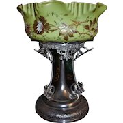 Brides Basket/Centerpiece: Magnificent Rare Cased Art Glass Brides Bowl Chartreuse Exterior Decorated in Heavy Gold and Enamel Pink & White Roses with Raspberry Pink Interior Sitting on Huge Rogers #1093 Quadruple Plated  Basket