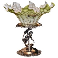 Brides Basket/Centerpiece: Lovely Ribbed and Ruffled Cased Art Glass Brides Bowl with Exterior and Interior Decorated Enamel and Floral Decor Sitting on Figur1272al Derby #1272 Basket Featuring Cherub Holding Bow