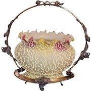 Brides Basket/Centerpiece: Rare Mt Washington Rainbow Coralene Satin Glass Cut Finger Brides Bowl Sitting in Phenomenal Meriden #24 Quadruple Plate Handled Basket with Grape, Ivy and Strawberry Accents