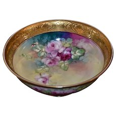 Limoges Exquisitely Executed Rose Filled Footed Center Bowl with Magnificent Gold Etched Wide Rim Signed Listed Pickard Artisted Blaha