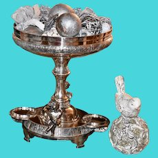 Pairpoint Huge Silver-plate Centerpiece with Winged Cupid