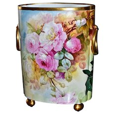 """Limoges Huge 12.5"""" Signed Cache Pot/Vase Covered Front to Back in Large Romantic Pink Roses"""