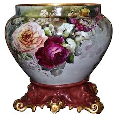 Limoges Jardiniere/Planter/Vase with Red/Pink/Yellow/Tea Roses and Ornate Plinth/Base