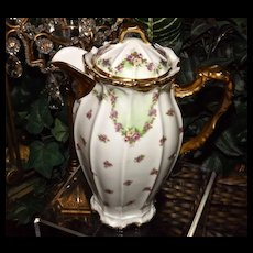 Limoges Chocolate Pot with Garlands of Pink/Yellow Roses