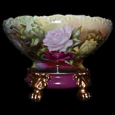 Limoges Signed Punch Bowl Covered in Marvelous Red, Yellow and Pink Roses Together with Paw Footed Plinth