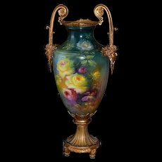 Massive Royal Bonn Vase/Urn with Dore Bronze Handles & Base Covered in Red, Pink & Yellow Roses Signed Master Artist Dirkman